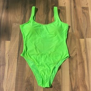 Neon green One piece bathing suit Small